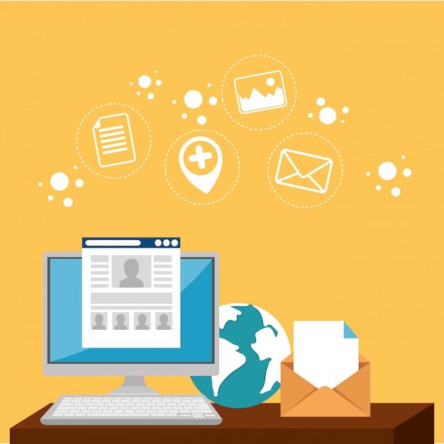 E-mail marketing imposta icone Vettore gratuito