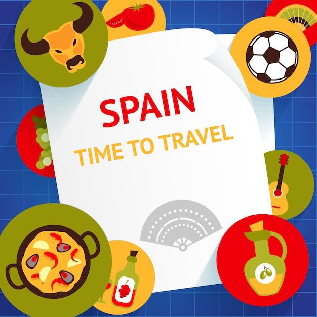 È tempo di viaggiare in spagna per visitare le attrazioni turistiche Vettore Premium