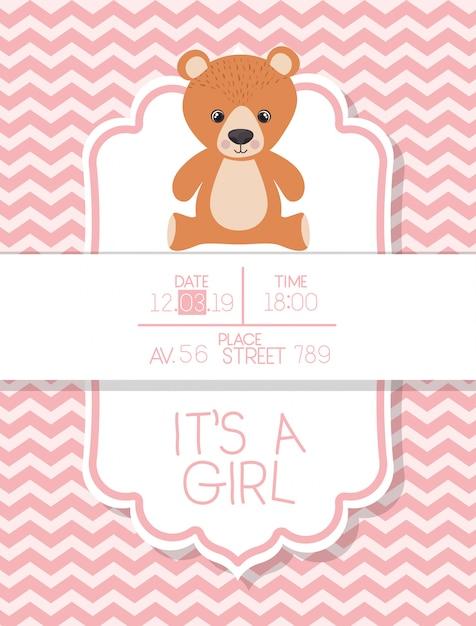 È una carta di baby shower per bambini con orsacchiotto Vettore gratuito