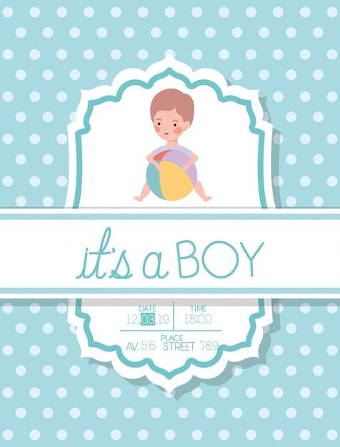 È una carta di baby shower per ragazzo con palloncino per bambini e plastica Vettore gratuito