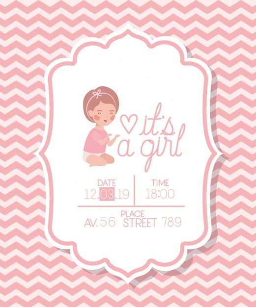 È una ragazza carta di doccia per bambini con un bambino piccolo Vettore gratuito