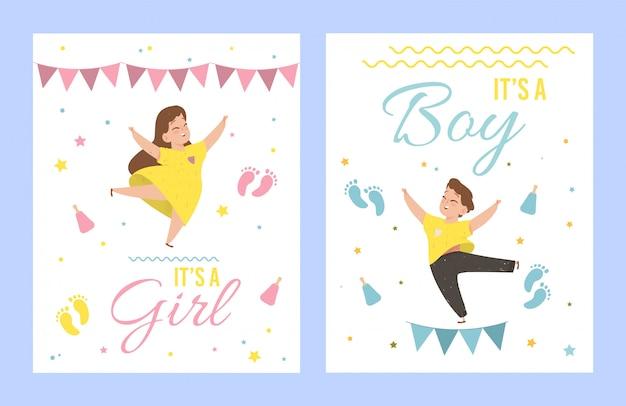 È una ragazza e le sue carte di un bambino baby shower. Vettore Premium
