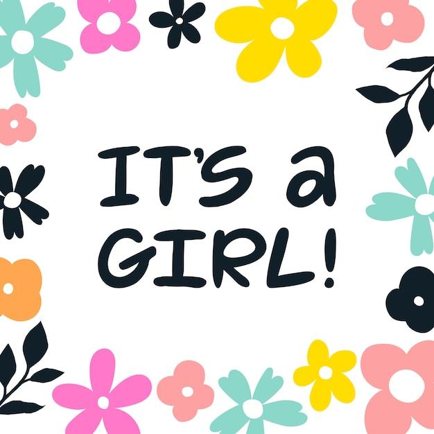È una ragazza! scritto a mano lettering biglietto di auguri. Vettore Premium