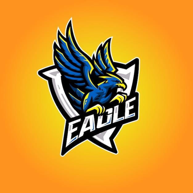 Eagle esport logo Vettore Premium