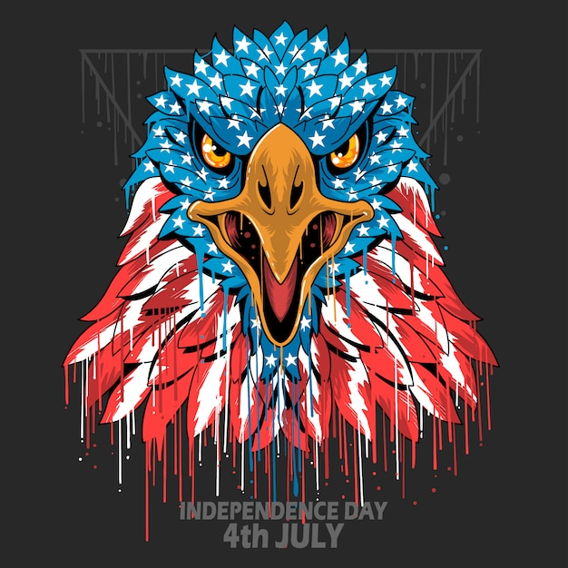 Eagle head america usa flip indipendence day, veterans day e memorial day element Vettore Premium