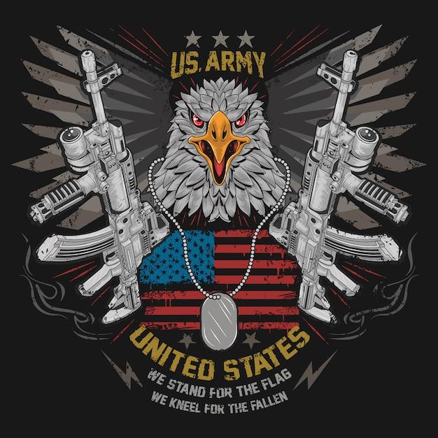 Eagle head usa america country con gun weapon ak-47 e wings iron sul vettore bandiera usa Vettore Premium