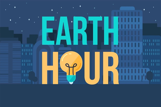 Earth hour banner Vettore Premium