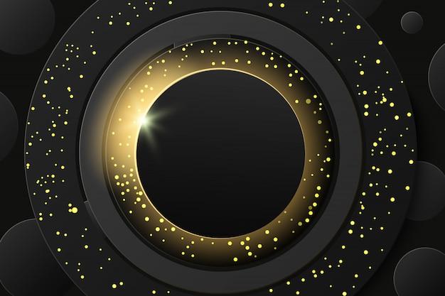 Eclissi solare, anello scintillante dorato nero astratto con fondo glitter dorato. cornice rotonda banner dorato con posto per il testo. Vettore Premium