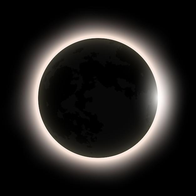 Eclissi solare totale Vettore Premium