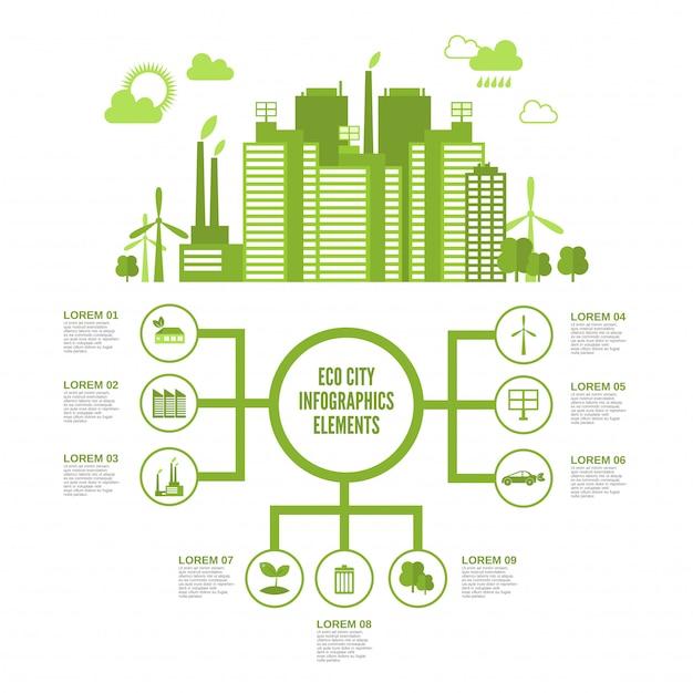 Eco città infografica Vettore gratuito