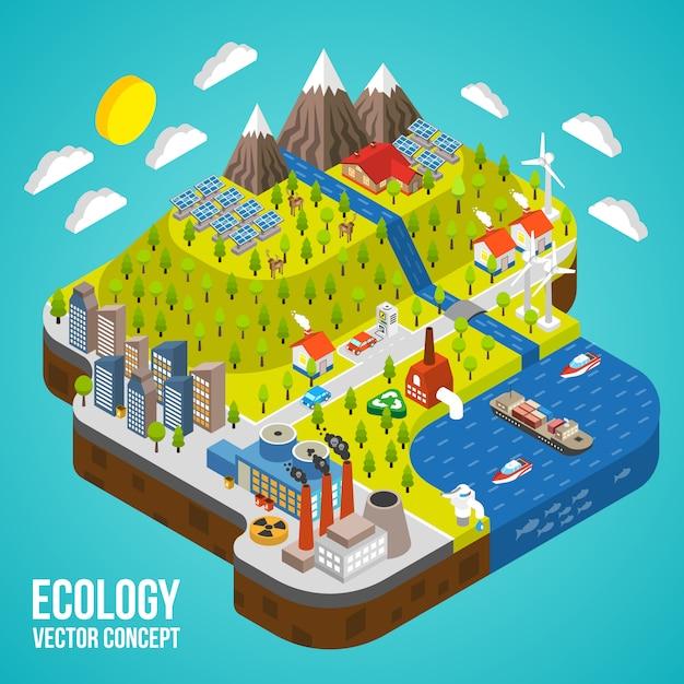 Eco city concept Vettore gratuito