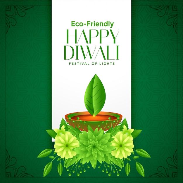 Eco deepawali felice diwali sfondo Vettore gratuito
