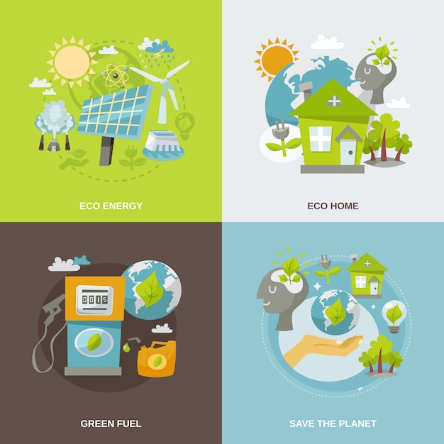 Eco energy flat Vettore gratuito