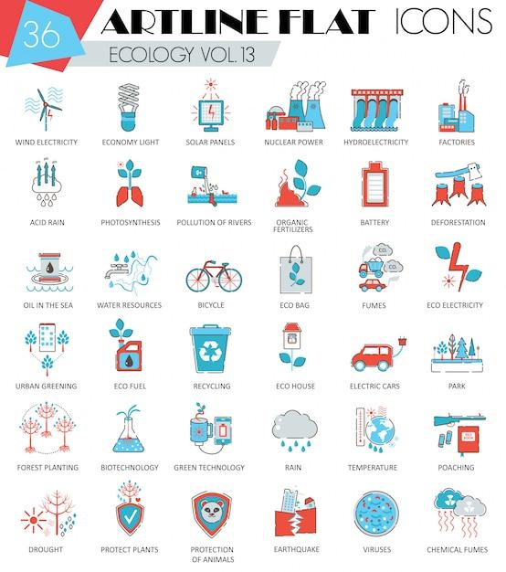 Ecologia, set di icone di linea piatta di energia verde Vettore Premium