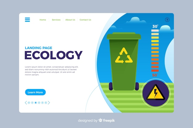 Ecologia stile piano pagina di destinazione Vettore gratuito
