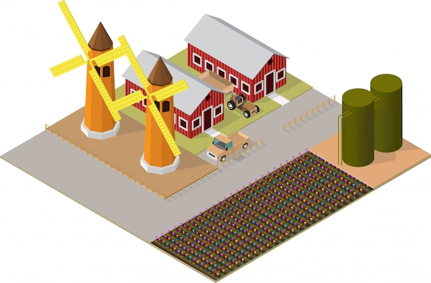 Edifici agricoli isometrici con giardini fioriti, mulino a vento Vettore Premium