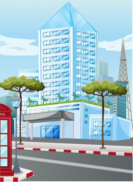 Edifici alti in città Vettore gratuito