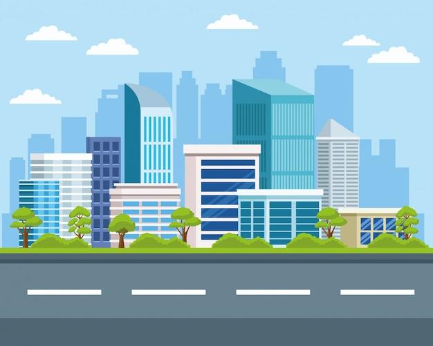 Edifici di paesaggio urbano e paesaggi naturali Vettore Premium