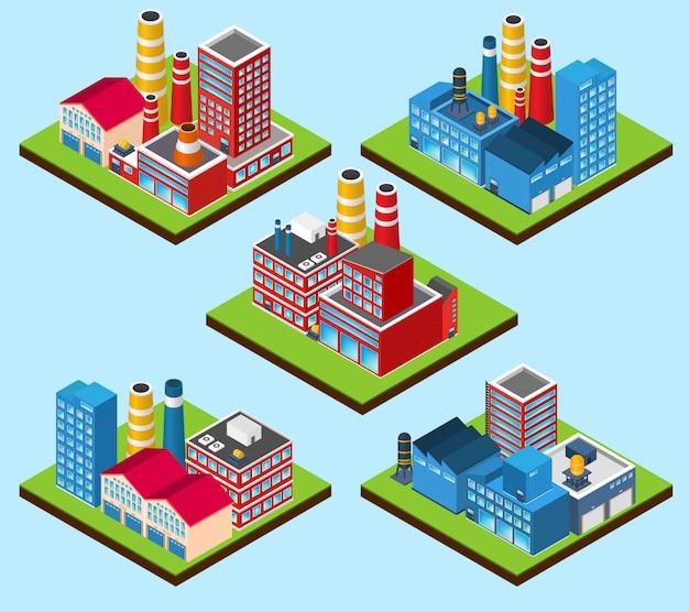 Edifici industriali isometrici Vettore gratuito