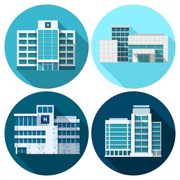 Edifici ospedalieri piane Vettore gratuito