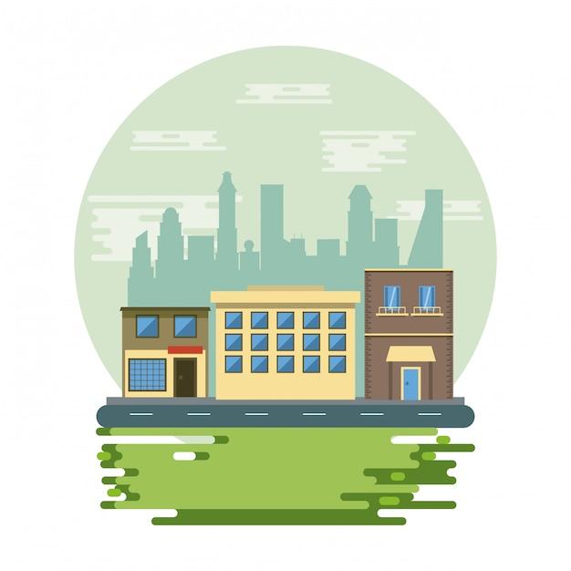 Edifici urbani con paesaggio urbano Vettore gratuito