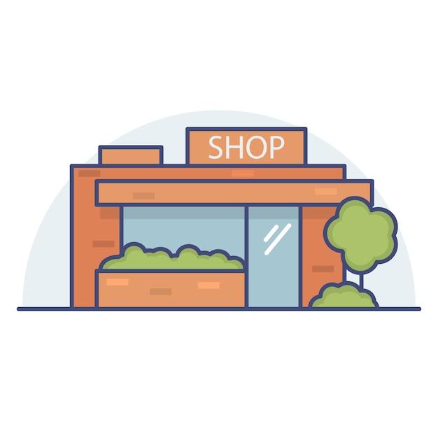 Edificio commerciale della città. Vettore Premium