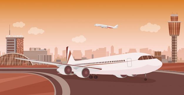 Edificio del terminal dell'aeroporto con il decollo degli aerei. paesaggio monocromatico monocromatico dell'aeroporto. Vettore Premium