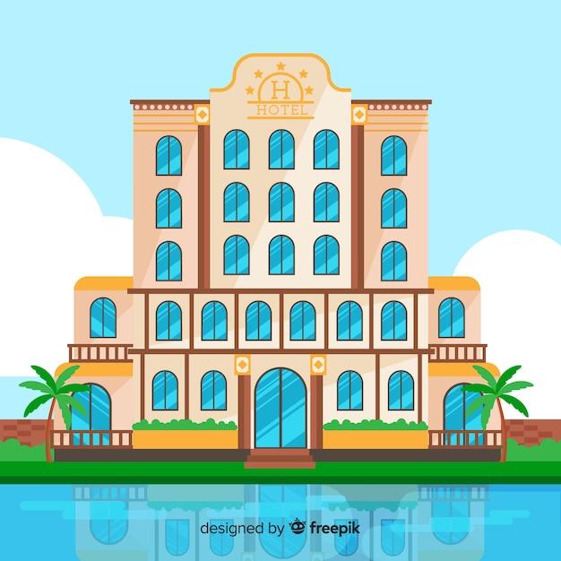 Edificio dell'hotel piatto Vettore gratuito
