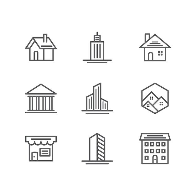 Edificio e immobiliare icone Vettore gratuito