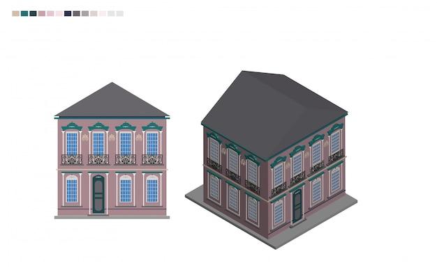 Edificio governativo isometrica casa amministrativa di stile architettonico Vettore Premium