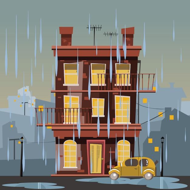 Edificio in illustrazione vettoriale giornata di pioggia Vettore Premium