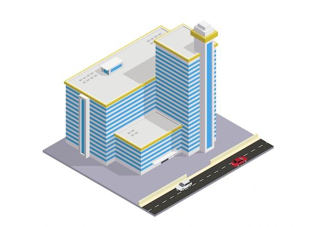 Edificio isometrico di hotel, appartamenti o grattacieli Vettore Premium