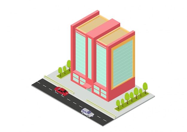 Edificio isometrico di hotel, appartamenti, scuole o grattacieli Vettore Premium