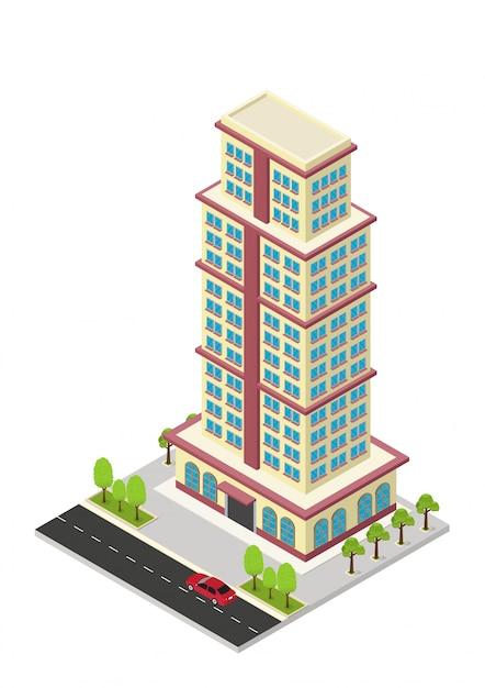 Edificio isometrico di vettore hotel, appartamento o grattacielo Vettore Premium