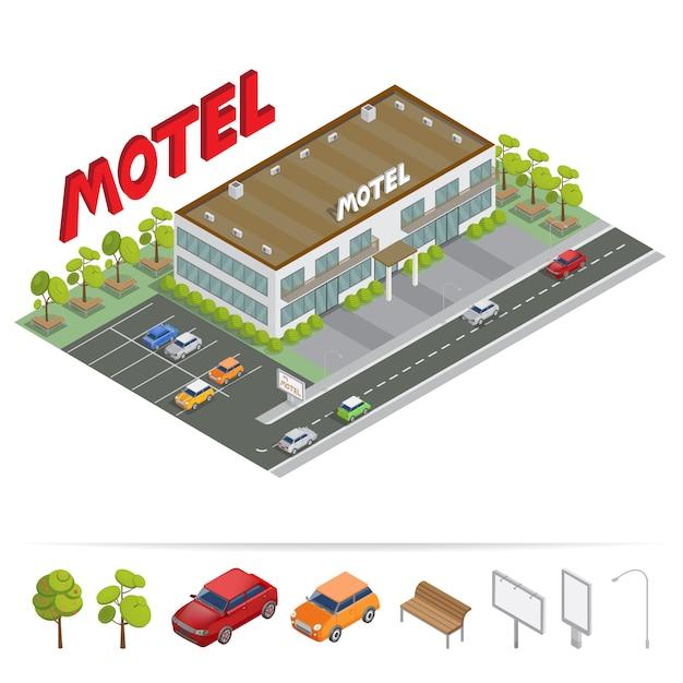 Edificio isometrico. motel con parcheggio. motel isometrico. Vettore Premium