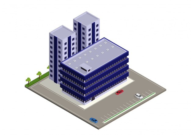 Edificio moderno isometrico Vettore Premium