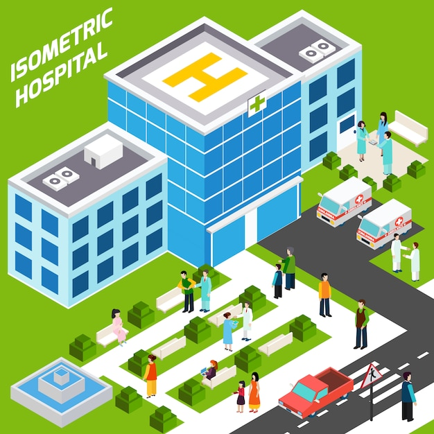 Edificio ospedaliero isometrico Vettore gratuito