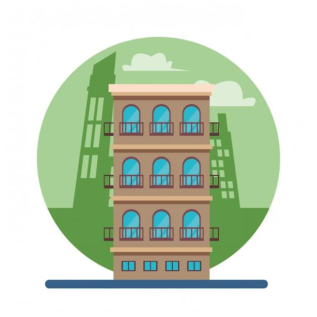 Edificio residenziale isolato Vettore Premium