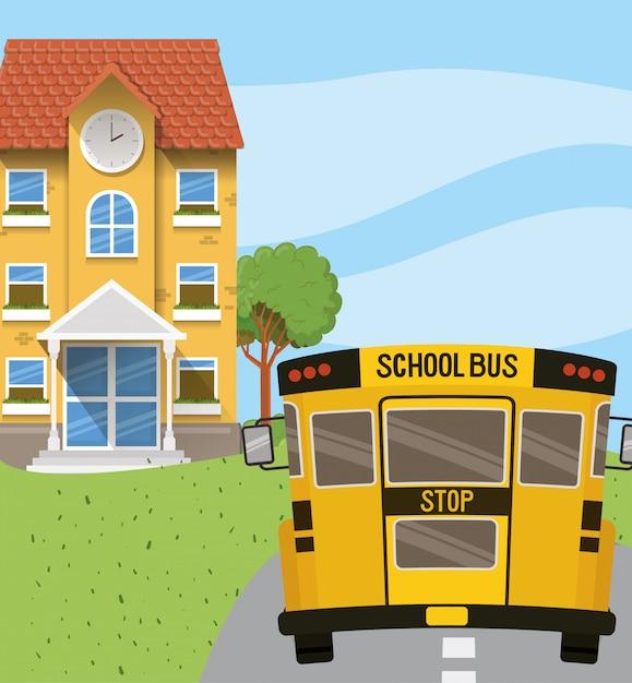 Edificio scolastico e autobus nella scena stradale Vettore gratuito