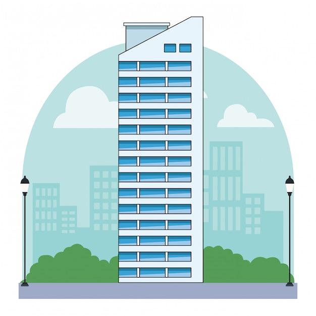 Edificio urbano e architettura della città Vettore Premium