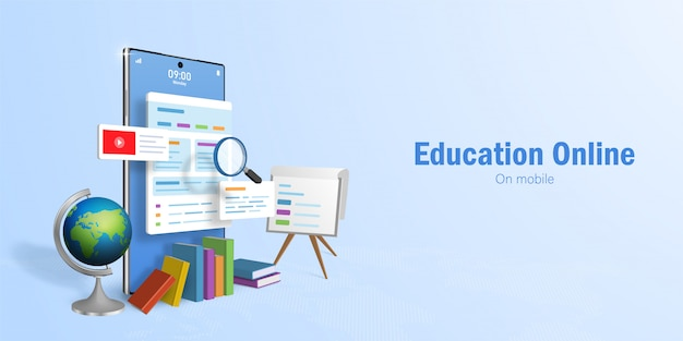 Education online concept, banner web per l'istruzione online, e-learning tramite smartphone Vettore Premium