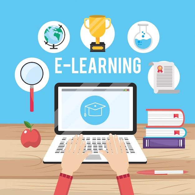 Educazione alla tecnologia portatile con conoscenza dei libri Vettore Premium
