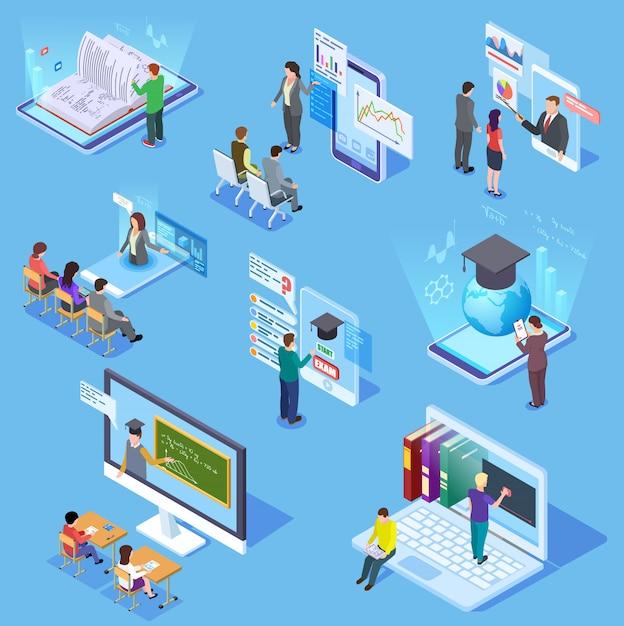 Educazione delle persone online. studenti della biblioteca dell'aula virtuale, professore insegnante, smartphone di addestramento di apprendimento. set di istruzione Vettore Premium