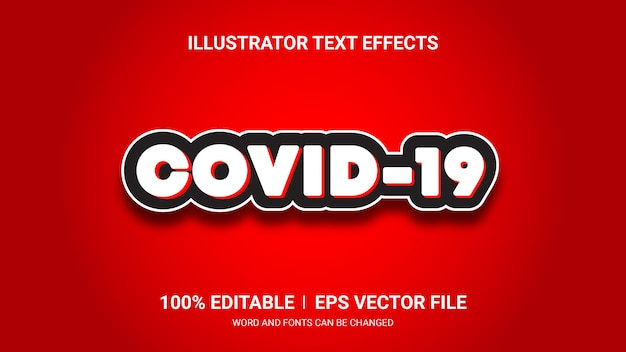 Effetti di testo modificabili-effetti di testo covid19 Vettore Premium
