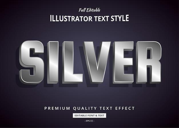 Effetto argento stile testo 3d Vettore Premium