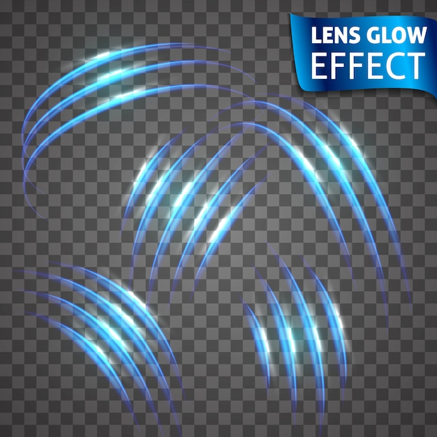 Effetto bagliore dell'obiettivo. serie neon serie di graffi di gatto. effetto luminoso al neon luminoso. crepa luminosa astratta, velocità effetto imitazione Vettore Premium