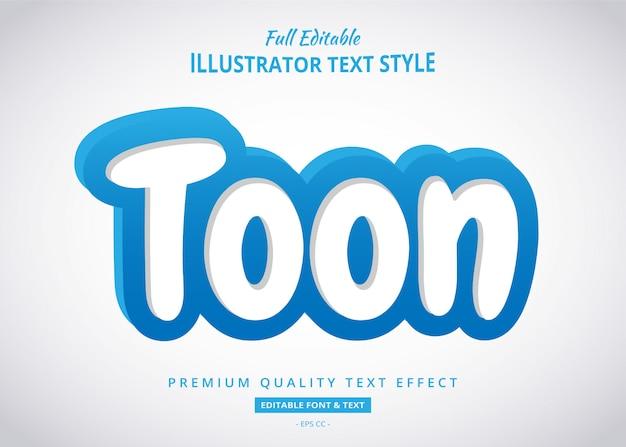 Effetto blu di stile del testo del fumetto 3d Vettore Premium