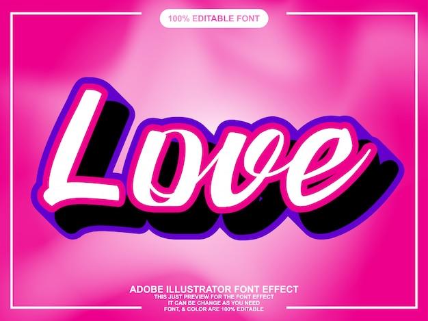 Effetto carattere adesivo semplice script amore Vettore Premium