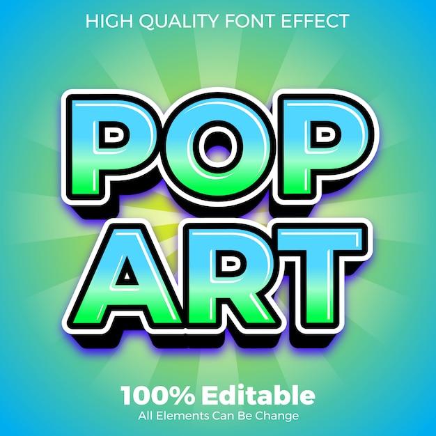 Effetto carattere modificabile moderno stile testo pop art Vettore Premium