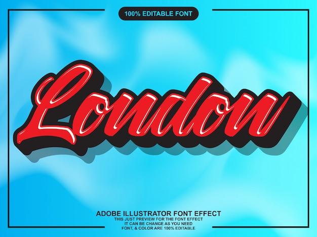 Effetto carattere tipografia modificabile moderno script rosso Vettore Premium